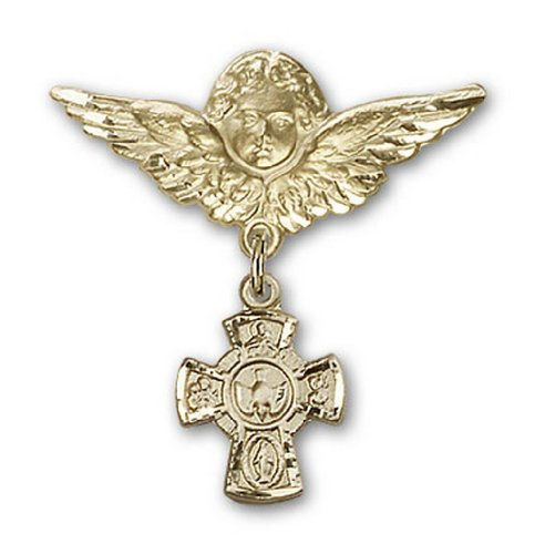 Icecarats Or Bijoux De Créateurs Rempli Cinq Voies Broches Badge Charme D'Ange 1 1/8 X 1 1/8