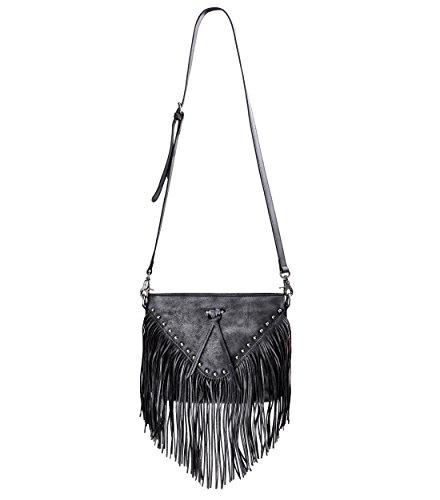ZLYC Women Handmade Dip Dye Leather Fringe Bohemian Tassel Studed Cross Body Bag (Gray)