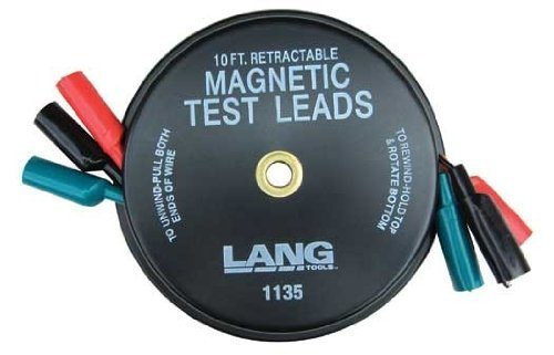 lang tools 1135 - Magnetic Retractable Test Leads- 3 Leads x 10-ft.