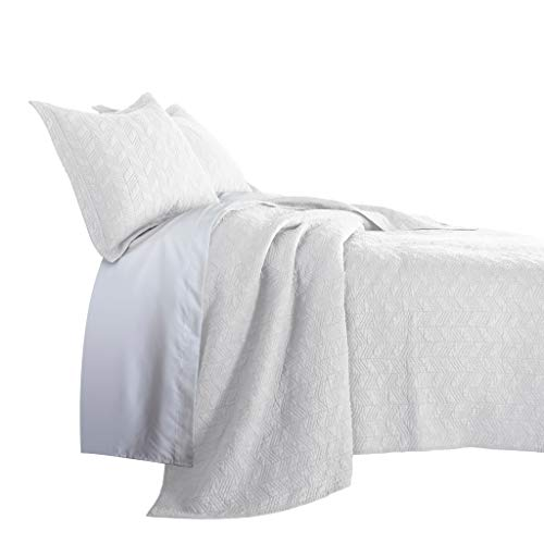 Chezmoi Collection Roswell 3-Piece Geometric Striped Soft-Finished Vintage Washed 100% Cotton Quilt Set (King, White)