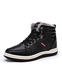 ARKE Men's Warm winter Snow Boot Fur Lined Lace Up Ankle Sneakers High Top Shoes Fashion Sneaker