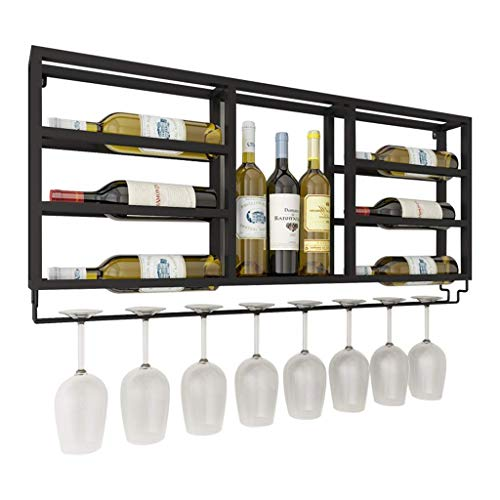 LNDDP Wall Mounted Wine Rack with Glass Holder Wall Decor 2-in-1 Wine Bottle Stemware Glass Rack - Metal/Iron Material - Elegant Storage for Kitchen, Dining Room, Bar, or Wine Cellar