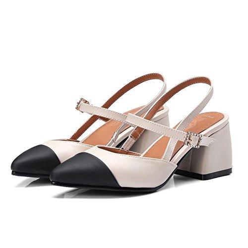 RAZAMAZA Femmes Bloc Mode Sandales Beige P407n4Fw
