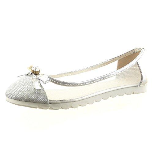 Sopily - Scarpe da Moda ballerina slip-on alla caviglia donna fishnet nodo gioielli Tacco a blocco 1 CM - Argento