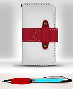 Accessory Factory(TM) Bundle (the item, 2in1 Stylus Point Pen) iPhone 4 - DESIGNER Horizontal Flap Pouch w Credit Card Pockets White Red FHPDS Case Cover Protector