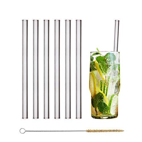 HALM Glass Straws - 6 Reusable Drinking Straws + Plastic-Free Cleaning Brush - Made in Germany - Dishwasher Safe - Eco-Friendly - 20 cm (8 in) x 0.9 cm - Straight - Perfect for Smoothies, Cocktails