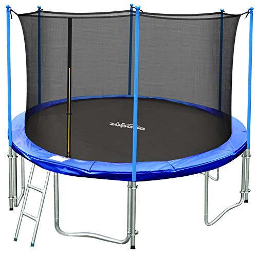 Zupapa TUV Approved 15ft 14ft 12ft 10ft Round Inside-net Trampoline Combo with Safety Enclosure and Pole, Ladder, Jumping Mat, Spring Pad, Spring Pull T-Hook (Best Rated Backyard Trampoline)