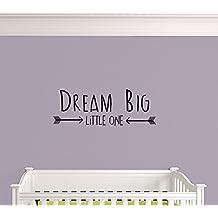 Dream Big Little One. Nursery Playroom Living Area Premium Vinyl Wall Decal Sticker. Black (Black)