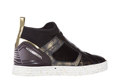 Hogan Rebel Slip Op Dames In Lederen Sneakers Nuove Originali R182 Mid Cut Bl