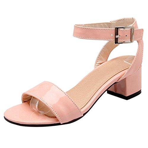 Taoffen Sandales Femmes Bloc Talons 5 Pink qvHPqra7