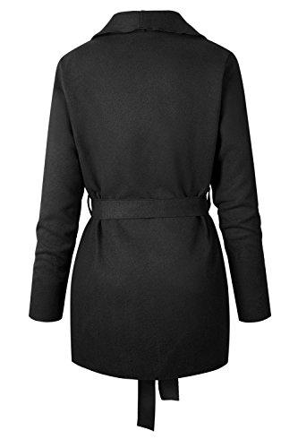 Con Abrigo Con Cinturon negro Lana Su Ropa Cuello Invierno Mujer De Casual Suelta Gabardina La De 1qASw8Xn