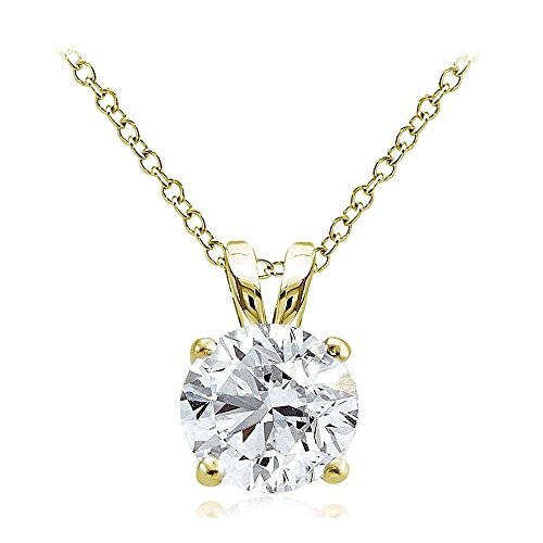 Gold Tone Over Sterling Silver 4Ct Cubic Zirconia 10MM Round Solitaire Necklace (10mm Solitaire)
