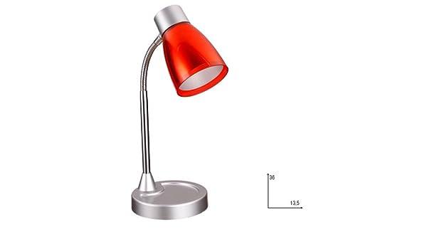 Fan Europe lámpara de mesa con tulipa E14, 40 W, Rojo, 36 x 13.5 ...