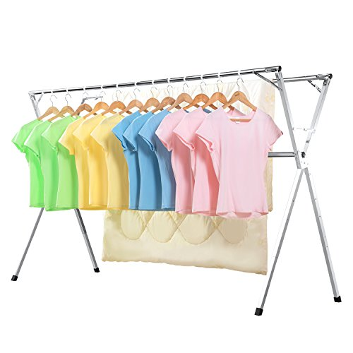 SINGAYE Clothes Rack Heavy Duty Stainless Steel Laundry Drying Rack Free Installed, Collapsible Space Saving Retractable Garment Hanger, Chrome