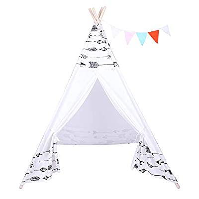 Indian Tent Children Teepee Tent Baby Indoor Dollhouse with Small Coloured Flags Roller Shade and Pocket Arrow Pattern: Toys & Games