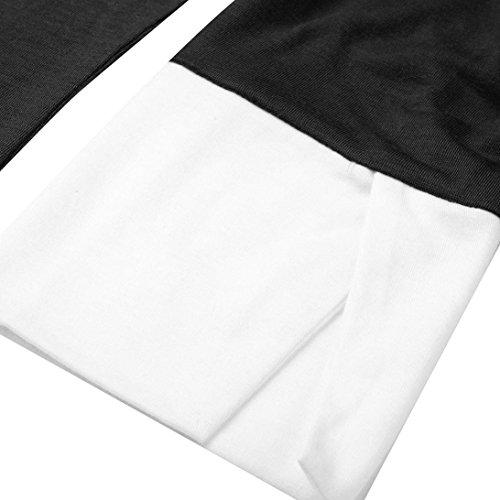 Femme Femmes Longues 4 Patchwork Noir O JIANGfu Mode Shirt T Manches 3 Chemisier Hors Casual Shouder Chemisier Courbe Manches Occasionnelles Ourlet Neck 6YBqXxdqw