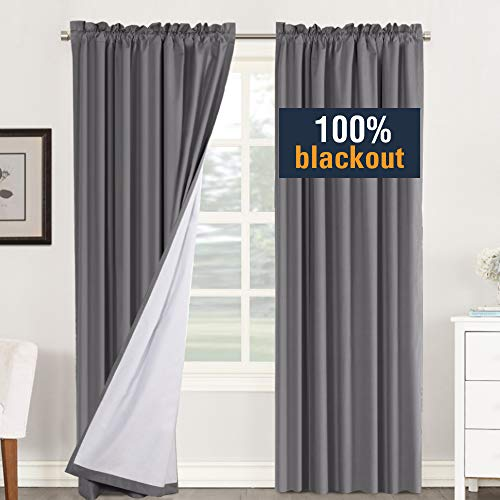 H.VERSAILTEX Grey Blackout Curtains for Bedroom 84 Inch Long, Rod Pocket Blackout Drapes for Dining Room White Liner, Thermal Insulated Guest Room Lined Window Dressing, One Pair, Tiebacks Included
