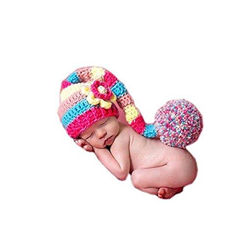 Coberllus Baby Gift Newborn Girls Photo Shoot Props Outfits Crochet Knit Flower Long Tail Hat Headdress Photography Props