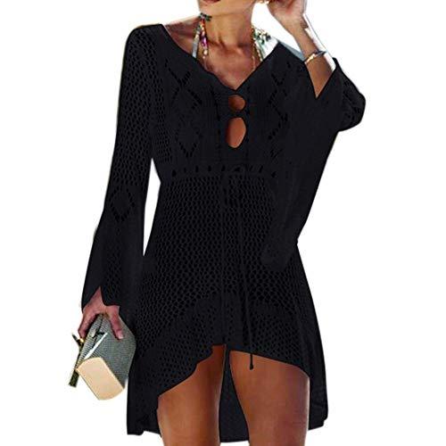ENlink Women's Bathing Suit Cover Up Swimsuit Beachwear Bikini Swimwear Crochet Lace Long Dress Beach Cover Ups (Black)