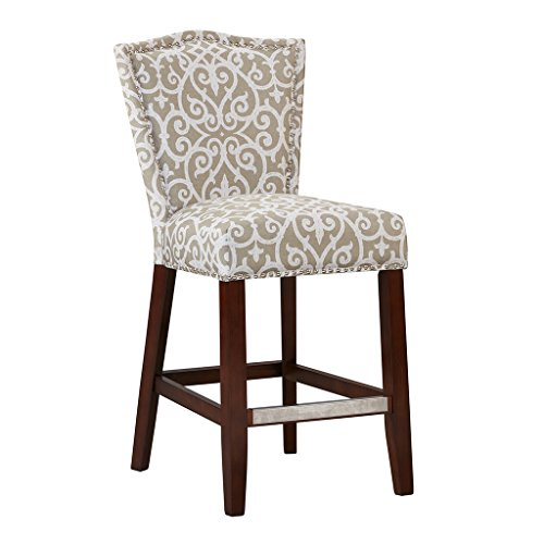 Madison Park Nate Bar Stools - Hardwood, Birch, Faux Linen Kitchen Stool - Grey, Taupe, Damask Pattern, Modern Classic Style Bar Height Stools - 1 Piece Armless Bar Furniture For Home ()