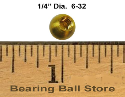 25 1/4'' threaded 6-32 brass balls drilled tapped knobs