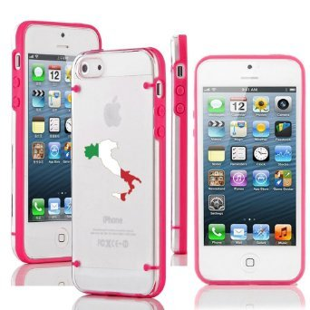 Apple iPhone 6 Plus / 6s Plus Ultra Thin Transparent Clear Hard TPU Case Cover Italy Italian Flag (Hot Pink) (Italian Flag Iphone 6 Plus compare prices)