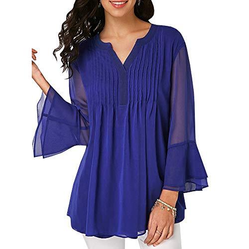 Casual Mambain Donna A Maniche Scollo Elegante Shirt Maglietta S V Tops Lungo T Chiffon Sciolto Camicia B 2XL Taglie Camicetta Forti Camicie Cerimonia Adgvqx1vw