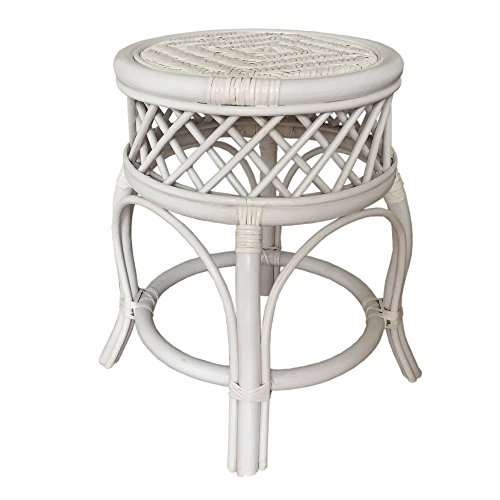 Round Stool Mary Color White. Handmade Eco-friendly Materials Rattan Wicker Home Furniture