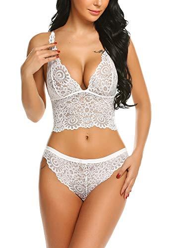 ADOME Women Lace Lingerie Set Cami Short Pajamas Set Lace Sleepwear, White, Large