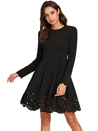 (Romwe Women's Scalloped Hem Stretchy Knit Flared Skater A-line Dress Black S)