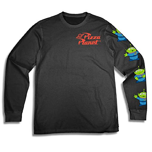 Toy Story Mens Group Shirt - Woody, Buzz Lightyear, Rex & Pizza Planet Long Sleeve - Throwback Classic Long Sleeve T-Shirt (Black, X-Large) ()