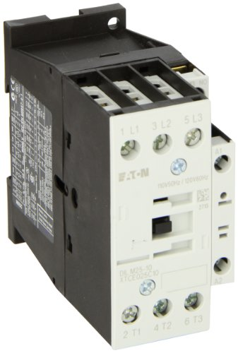 Eaton XTCE025C10A XT-IEC Contactor and Starter, 45mm, 25A AC-3 Current Rating, 7-1/2 Max HP at 230VAC, 15 Max HP at 460VAC, 20 Max HP at 575VAC, 120VAC Coil Voltage