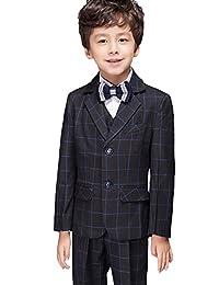 SK Studio Boys' Three Piece Wedding Plaid Jacket Pants Suits
