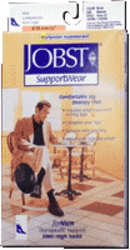 BSN Jobst Classic Supportwear Men's Knee High Mild Compression Socks Large, Black, Closed Toe, Latex (Pair of 2 Each)