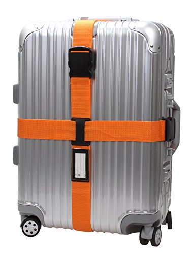 Cross Luggage Strap Adjustable Suitcase Belt Travel Accessories 1Pack #L170 (1Orange) by MSG