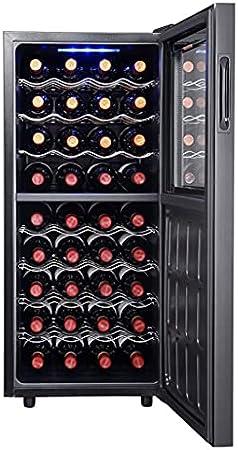 SHENXINCI Vinoteca Pequeño Armario de Conservación 36 Botellas,86 litros de Capacidad, Temperatura Regulable 5-18 °C, Panel Táctl, con Balda Extraíble y Luces LED,Negro