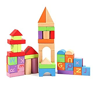 DJ Danjub Wooden Building Blocks Set, 51 PCS Colored Wooden Blocks - ABC Wooden Building Stacking Blocks for Toddlers | Wooden Blocks Alphabet Number | Developmental Educational Toy for Girls and Boys