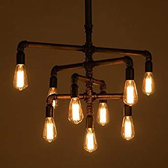SEOL-LIGHT Barn Adjustable Pipe Chandeliers Pendant Hanging Lighting with 9 Sockets Industrial-Style Max 540W Metal Iron For Dinning Room,Kitchen,Foyer