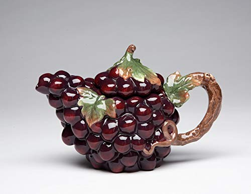 Cg 10332 Purple Grapes Shape with Leaves & Vine Handle Teapot Collectible