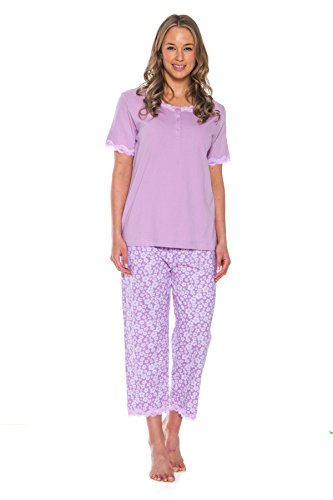 iece Cotton Pajama Capri and Shirt Set (Purple, X-Large) (Cotton Capri Set)