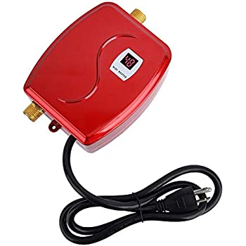Electric Tankless Water Heater, 3000W Mini Instant Thermostatic Hot Water Heater for Bathroom Kitchen Sink Leakage Protection and LCD Digital Display US Plug 110V(Red)