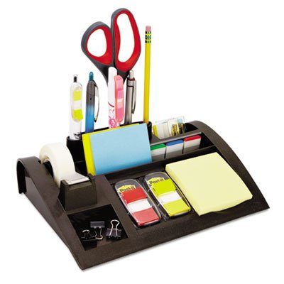 Notes Dispenser with Weighted Base, Plastic, 12 x 8 x 2, Charcoal Gray, Total 6 EA
