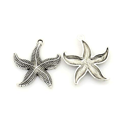 (Craftdady 100Pcs Antique Silver Starfish Charms 1.02x0.9
