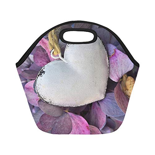 (Insulated Neoprene Lunch Bag Hydrangeas Heart Autumn Hydrangea Flowers Large Size Reusable Thermal Thick Lunch Tote Bags For Lunch Boxes For Outdoors,work, Office,)