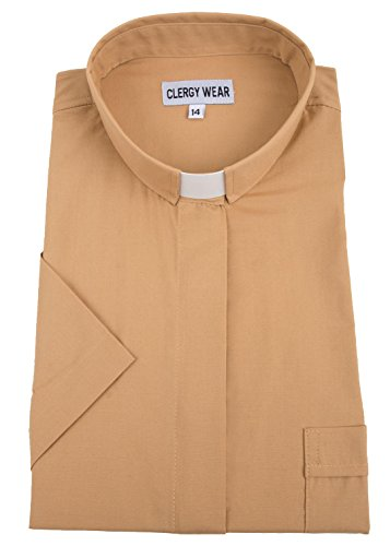 Tab Collar - Mercy Robes Women's Short Sleeve Tab Collar Clergy Shirt (18W, Beige)