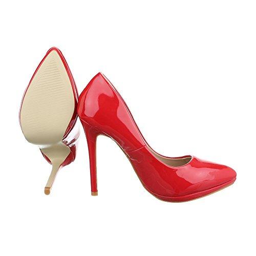 chaussures Rouge Design femme compensées Ital 8qzn5Hwx