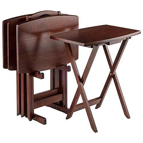 Cirocco 5 Pieces Folding Wooden Tray Table Set with Rack Walnut Finished | Foldable Heavy Duty Solid Wood Laptop Stand Classic Easy Storage Furniture | for Home Living Room Couch Snack TV Game Dinner