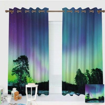 ZXAWT Custom Design Curtains/Grommet Top Blackout Curtains/Thermal Insulated Curtain for Bedroom and Kitchen-Set of 2 Panels(Northern Lights by Sky Over Lake Surrounded Forest Woods 55