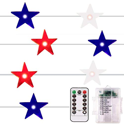 - ADAINA Remote Dimmer,Red White Blue,Outdoor Led String Lights,8 Model Waterproof 40 LEDs,14Ft,4th for July Flag Lights,Memorial Independence Day,Patriotic Decoration(Red White Blue)