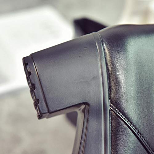Largo Stivaletti Nero Tacco Donna Spesso Mocassini Tacco Scarpe Zeppa Bianco con Tacco col Scarpe Leather Boots Up Plateau Scarpe Nero Donna Donna con Longra Donna Lace con gwFqzz